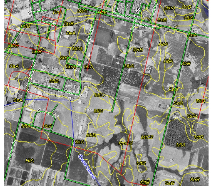 Example of bad Tiger data in Stanislaus County: Red lines are the original road network, green lines are the corrected road network.