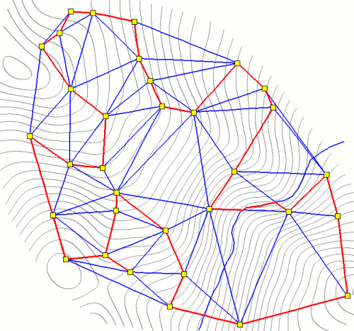Optimal Route version 2: 10-meter contours in grey, network in blue, optimal cycle between data-loggers (yellow) in red.