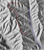 Sample profile creation I: Vector representation of 2 transects performed by an adventurous soil scientist near McCabe Canyon, Pinnacles National Monument.